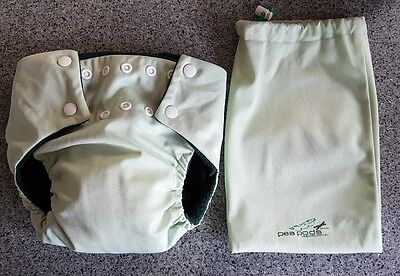 Baby Unisex Light Green PEA POD MCN Cloth Nappy Bamboo Absorber Wet Bag MED