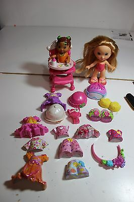 Mattel Fisher Price Snap N Style clip on, Dolls Cloths shoes Baby High Chair lot