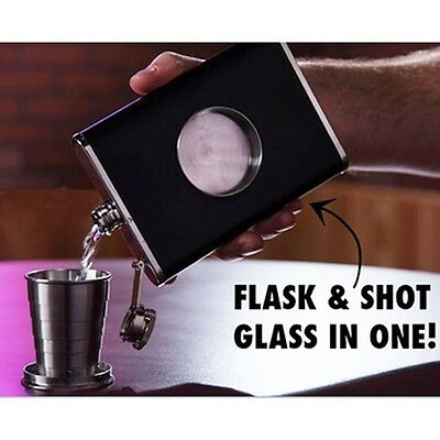 Alcohol With Collapsible SHOT Glass 8 OZ Hip Flask Flagon Wine Bottle Wine Pot