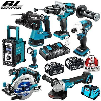 Makita 18V 5.0Ah Lithium Brushless Cordless 7pce Combo Kit with new model