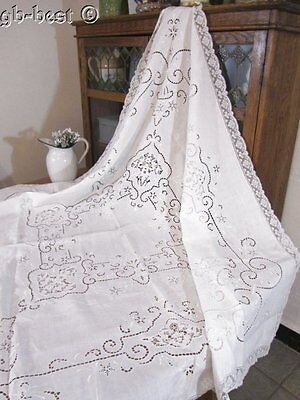 Antique Needle Lace Embroidered LINEN Tablecloth Wedding White