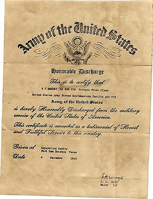 Honorable Discharge  Document Us Army 12/4/1945, T.j. Embrey