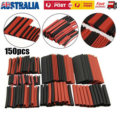150 PCS Heat Shrink Heatshrink Wire Cable Tubing Tube Sleeving Sleeve Wrap Black
