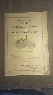 Vintage Instruction Book for a McCormick-Deering 10-20 Gear Drive Tractor 112pgs
