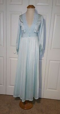 Vintage Pale Blue Green OLGA Peignoir Set Nightgown Robe size Petite