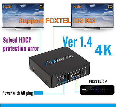 New 1x2 Ver1.4 HDMI Splitter for Foxtel IQ  HD tv, solved HDCP protection error