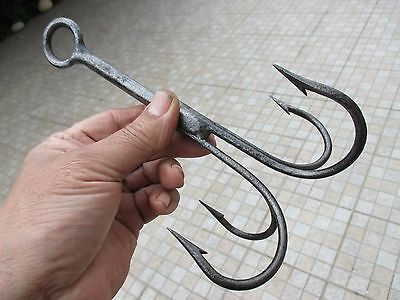 Antique or Vintage Iron Anchor Grapnel Claw Blacksmith Made Old Hook Claw