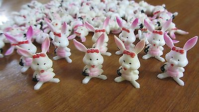 Lot Miniature Figurine Girl Rabbits (72), Doll House, Crafts, Pink Ears, Purse