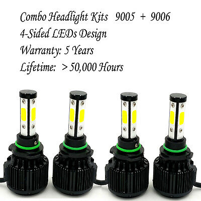 9006 9005 Total 1980W 294000LM CREE LED Headlight High Low Beam Combo Kit 6000K