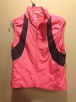 Womens Ashworth Full zip Golf Vest  Large Pink Black Ashworth Weather Systems L