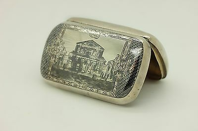 Antique Russian Handmade Niello Silver 1878 Dated  Cigar Case