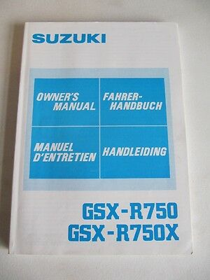 Suzuki GSX R 750 1985-87 OWNERS MANUAL OEM Handbook Original Owners Manual