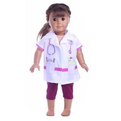 Doctor Nurse Costume Set Outfit Clothes for 18'' American Girl Doll White