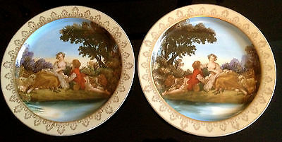 Original Pair Wall Plates F Bouchee 1759 Madame Pompadour Courting Scene 10 inch