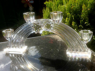 Rare Vintage Nachtmann Heavy Lead Crystal Glass 4 Candle Star Design Candelabra