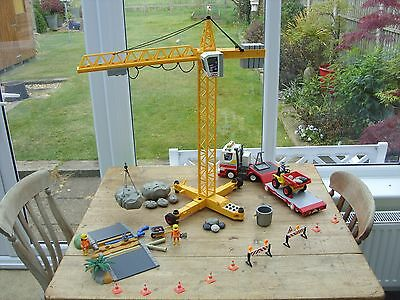 Playmobil Crane, Construction Site, Transporter Truck & Roadworks Play Set