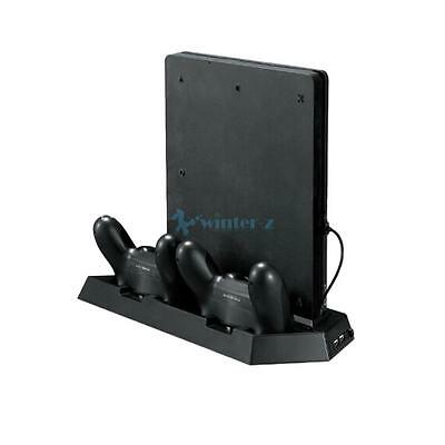 Vertical Stand Cooling Fan W/ Dual Charging Station for PS4 Slim Console Gaming