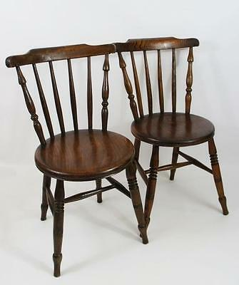Pair early 20th century  Penny Windsor spindle back chairs in Beech & Elm