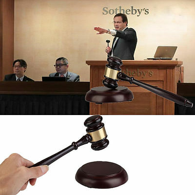 Wooden Handcrafted Wood Gavel & Sound Block Lawyer Judge Meeting Auction Sale