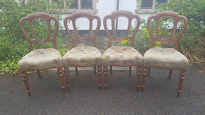 A Beautiful Set of 4 Victorian Mahogany Admiralty/Balloon Back Dining Chairs