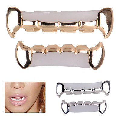 Gold Silver Plated Hip Hop Mouth Teeth Tooth Half Fangs Grillz Top Bottom Grill