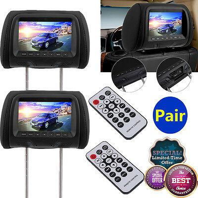 "2x 7"" twin car headrest MP5 player pillow HD touch screen monitor mp5 black New"