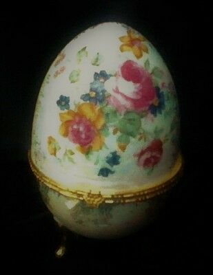 Porcelain Footed Egg Trinket Box   Hand-Painted Flowers   Excellent Condition.
