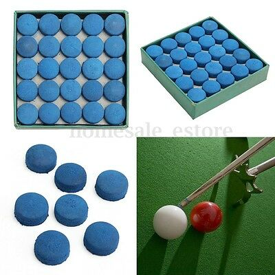 Box Of 50Pcs Glue-on Pool Billiards Snooker Cue Tips Leather Blue 9mm 10mm 13mm