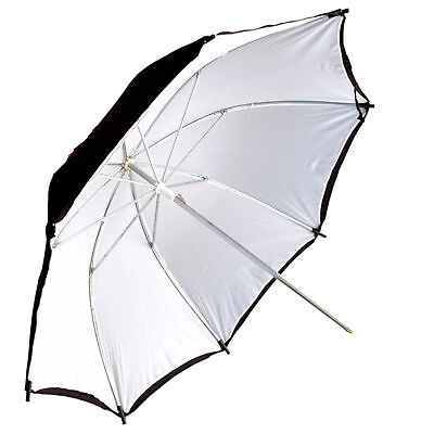 "Kood 24"" Black With White Reflection Studio Umbrella - 8mm Shaft - UK"