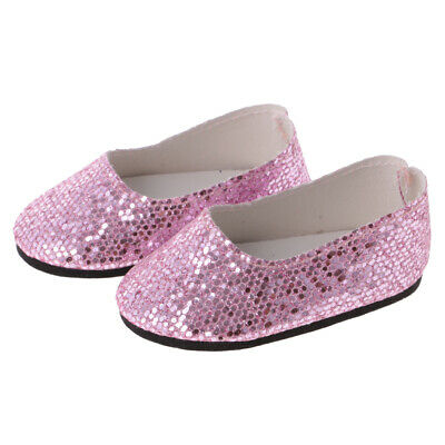 Doll Girl Party Pink Sequins Shoes for 18'' American Girl AG Dolls Clothing