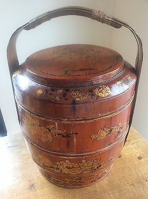 Antique c19th Chinese Wedding Basket Asian Bamboo Handle Lacquered Gilded Design