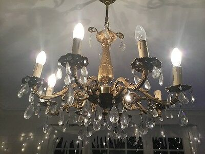 Gorgeous Large Ornate Antique Gold / Brass Chandelier Beautiful Crystals 8 Arms
