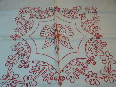 """Vintage/Antique Redwork Embroidered Butterfly 27 x 29"""""""