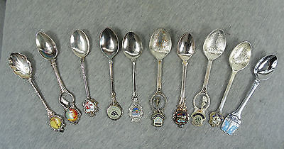 LOT of 10 VINTAGE COLLECTIBLE ORNATE DECORATED & ENAMEL SOUVENIR SMALL SPOONS #5