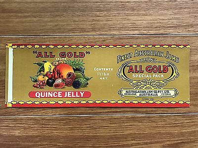 Vintage QUINCE JELLY Jam Tin Paper Label ALL GOLD BRAND Australasian Jam Co
