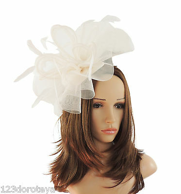 Ivory Fascinator Hat For Weddings/Ascot/Proms With Headband B3