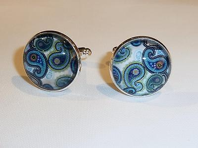 Silver Plated Cufflinks - Glass Dome - Paisley Design - Free Uk P&p........w1518