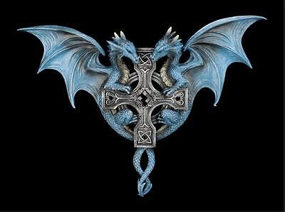 Anne Stokes Dragon Duo Fantasy Gothic Cross Wall Plaque