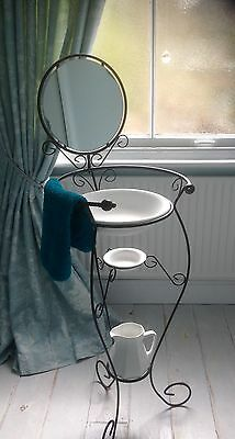 Vintage French Style Shabby Chic Scrolled Metal Washstand