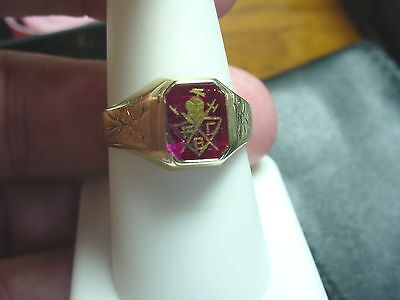 Vintage Deco Nouveau 10K Green Gold Knights Of Pythias Red Stone Crest Ring Sz 9