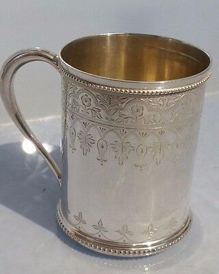 1875 Art Nouveau Victorian solid silver tankard in lovely condition crisp marks