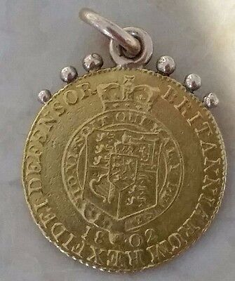 1802 George III Half Guinea 22ct gold coin pendant or gold watch chain fob