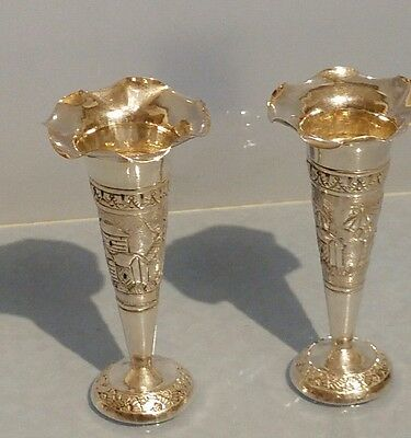 Pair of Indian solid silver trumpet vases silver marks to the base