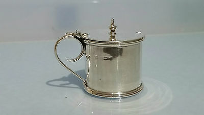 1912 Silver mustard pot with a blue glass liner & finial top by CT Burrows
