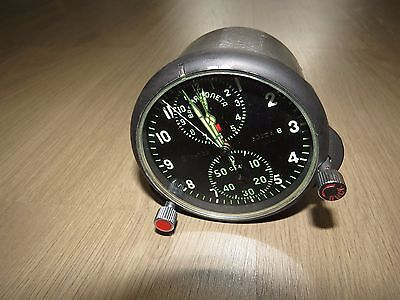 Vintage Russian USSR Military AirForce Cockpit Clock Chronograph ACHS-1