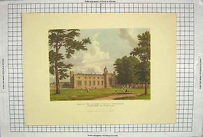 Old Antique Print 1816 Southern Schools Dormitories Rugby Play Ground 190G206