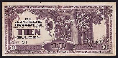 Netherlands Indies Japan occupation Banknote 10 Gulden SI Block Letters P-125c
