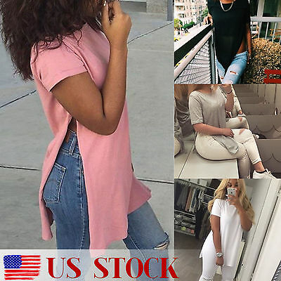 US Womens ladies Casual Side High Slit Tee Long Top Maxi Dress T-shirt Split Top