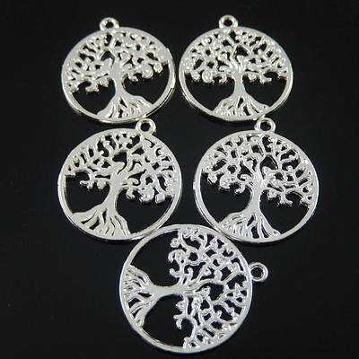 5PCS Vintage Silver Alloy Tree Round Crafts Charms Pendant Findings 29*25*1mm