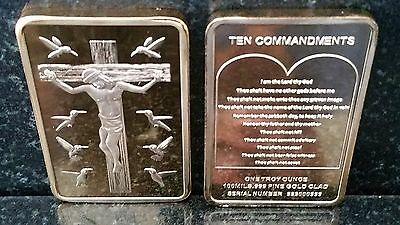 Jesus On The Cross 10 Commandments Gold Bar God Christ Christianity Religion